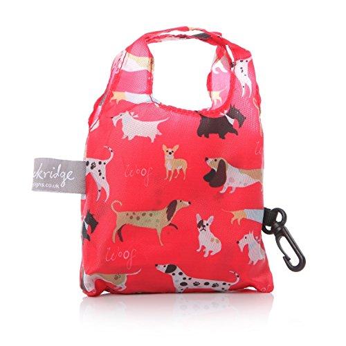 Lisa Buckridge - Borsa shopper tascabile in tela cerata, motivo: passeggiata con cane, colore: rosso