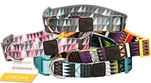 Friends Forever Dog Collar Pattern Design Nylon Adjustable (Large, Geometric Gray)