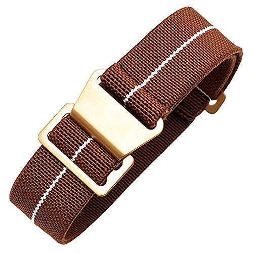 Span Realm Man's Parachute Special Elastic Nylon Band 20/22mm High-end Superior Watch Nylon Strap (Brown-Golden Buckle, 20) Brown Rubber Strap Watch