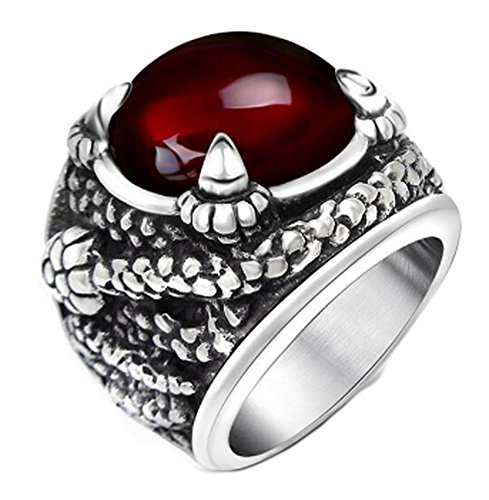 Chariot Trading - Ruby Jewelry Solid Stainless Steel Rings (SIZE : 10) (Belly Dance Costumes Clearance)