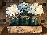 quart mason jars with handles - Mason Canning Jar Centerpiece Utensil Holder Kitchen Table 3 Clear Colored Glass QUART Jars in Distressed Wood ANTIQUE WHITE TRAY with handles -Flowers (optional) Amber Yellow, Ruby Red, Sapphire Blue