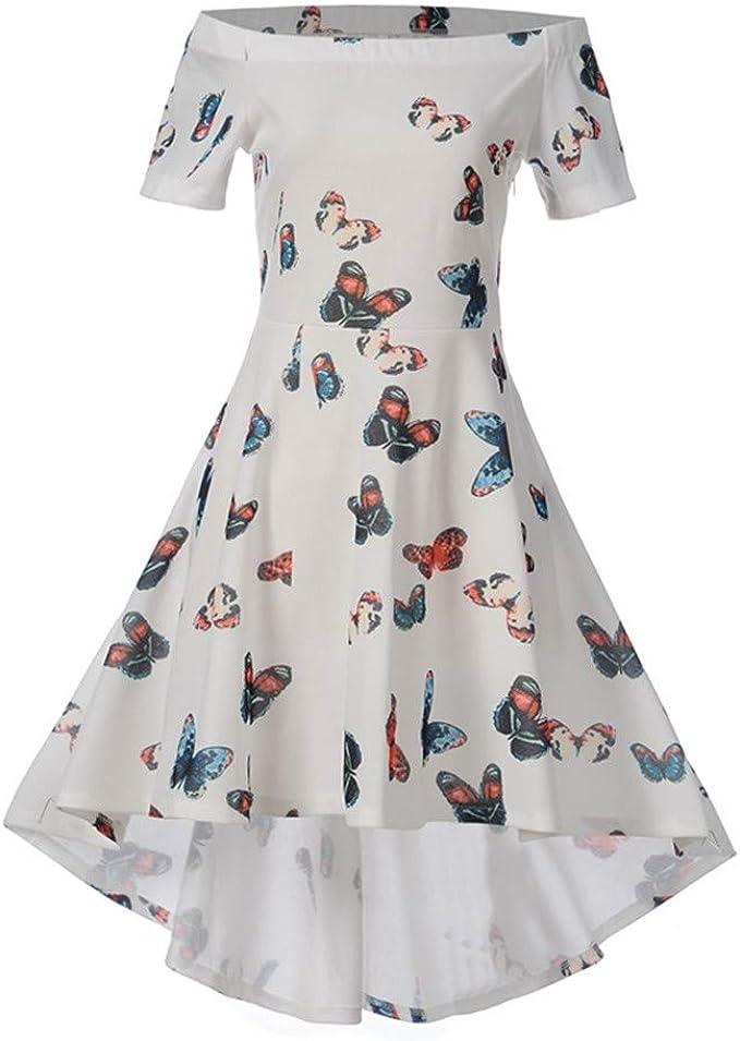 Briskorry-Vestido Con Hombros Descubiertos Vintage Falda Damas ...