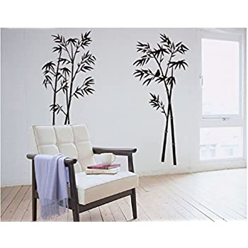MF@Large Bamboo Tree Room Wall Stickers With Birds Home Decor Vinyl  Removable Murals Wall