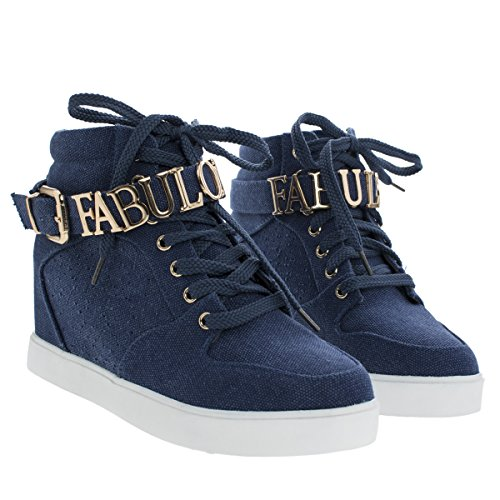 Eddie1 Denim Women's Fashion Sneaker w Hidden Wedge & Metallic FABULOUS Adornment -6 (Sneakers Womes)