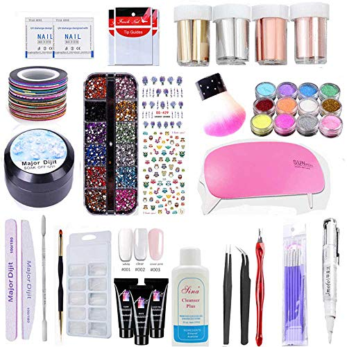 (41 Pack All-In-One Nail Art Kit, KOBWA Quick Nail Extension Builder Set with Poly Gel/LED Lamp/Rhinestones & Gel / 10 Piece Nail Tools/Matte Nail Foils/Dipping Powder/Tip Guides/Cleaner)