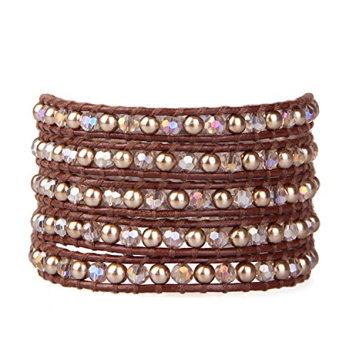 KELITCH Fashion 5 Wrap Bracelets Mixed Crystal Beads & Pearls for Women Girls on Brown Genuine Leather Adjustable