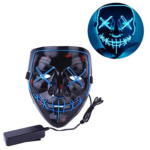 DAILIN Frightening Halloween Scary Mask Cosplay Led Mask EL Wire Light up Festival Costume Party (Blue) -