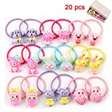 BTshine Cartoon Elastic Hair Ties - 20 PCS (10 Pairs) Toddler Ponytail Holder Small Ropes for Girls, Kids,Thin Hair, (Multi-color)