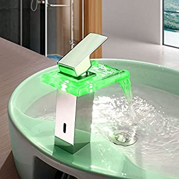StarSide Bathroom Sink Faucet Color Changing LED Waterfall Handle Basin Mixer Tap(Chrome Finish)