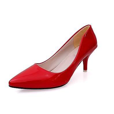 TMKOO 2017 Sommer-Absatz spitze Schuhe flacher Frauen einzelne Schuhe Mund 6cm fein mit dem Trend der Schuhe mit hohen Absätzen ( Color : Rot , Größe : 35 )