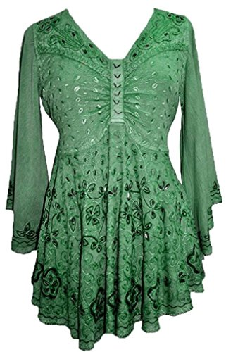 116 B Medieval Butterfly Sequin Bell Sleeve Blouse [Green; XL/1X]