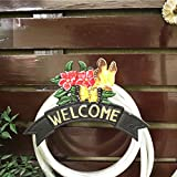 Sungmor Heavy Duty Cast Iron Garden Hose Holder,Wall Mounted Hose Rack,Decorative Flower & Butterfly Hose Hanger,Antique Garden & Yard Decorations