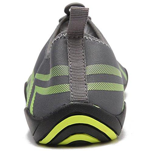 Hobibear Uomo Quick Dry Slip-on Scarpe Da Ginnastica Leggero A Piedi Nudi Aqua Calze Per Piscina Da Spiaggia Yoga Canottaggio Grigio / Verde