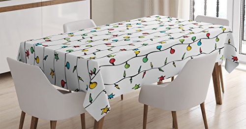 Ambesonne House Decor Tablecloth, Christmas Lights on String Star Shape Fairy Lights Festive Season Xmas Decoration Theme Print, Rectangular Table Cover for Dining Room Kitchen, 60x84 Inches, Multi