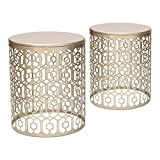 Adeco Metal Iron Strip Structure Stool Nesting Side / Coffee Table Set Gold, Set of 2 For Sale
