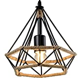 Hemp Rope Iron Wire Diamond Chandelier - Battaa CTI4025-S (2018 New Design) Industrial Vintage LED Pendant Lighting Loft Hanging Ceiling Lamp Fixture for Indoor Sitting Room Bar Cafe 2-Year Warranty