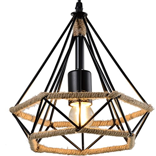 Hemp Rope Iron Wire Diamond Chandelier - Battaa CTI4025-S (2017 New Design) Industrial Vintage LED Pendant Lighting Loft Hanging Ceiling Lamp Fixture for Indoor Sitting Room Bar Cafe 2-Year Warranty - S/s Wire Rope