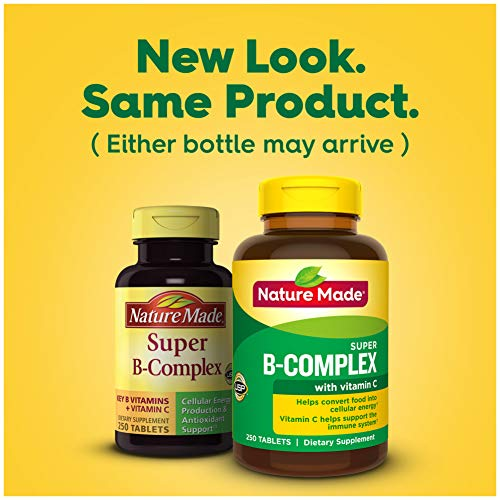 Nature Made Super B-Complex Tablets with Vitamin C and Folic Acid, 250 Count for Metabolic Health† (Packaging May Vary)