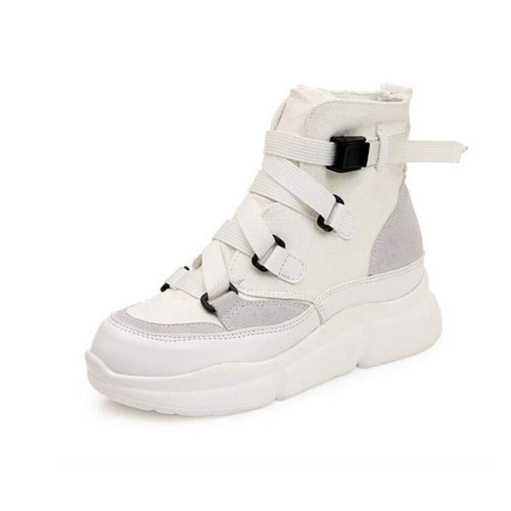FH Martin Stiefel mit dickem Boden High-Top-vielseitige Stiefel Student Schwamm Kuchen und Stiefeletten (Farbe   Weiß Größe   EU37 UK4.5-5 CN37)