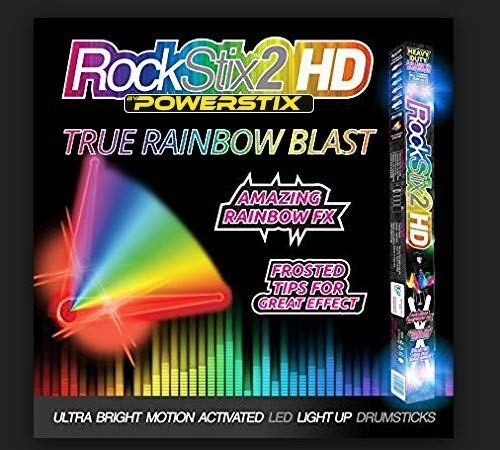 (ROCKSTIX LIGHT UP DRUMSTICKS : RAINBOW BLAST! Amazing True Rainbow Effect, Set your Gig on Fire)