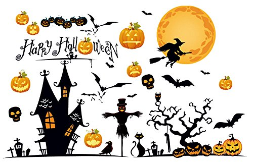 TOTOMO #W202 Happy Halloween Window Clings & Wall Decals Sticker Decoration for Store Kids Room Décor