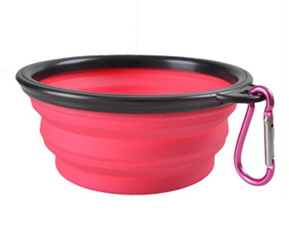Hosaire Collapsible Dog Bowl, Food Grade Silicone BPA Free ,Foldable Expandable Cup Dish for Pet Dog/Cat Food Water Feeding Portable Travel Bowl Pink