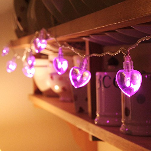 4M 40LED Novelty pink Battery Operated LED String Lights Heart Shape for Wedding, Indoor,Outdoor Party Christmas (Heart Lights)