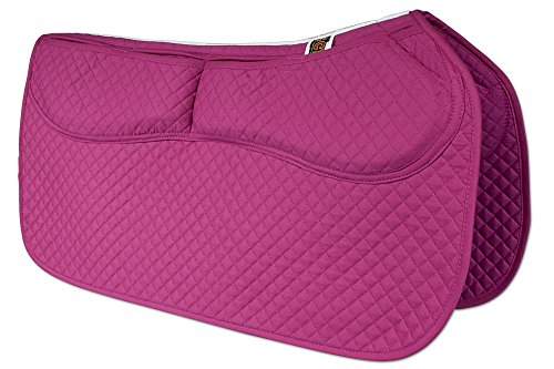 ECP Western Saddle Pad All Purpose Diamond Quilted Cotton Therapeutic Contoured Correction Support Memory Foam Pockets for Riding Color Rose