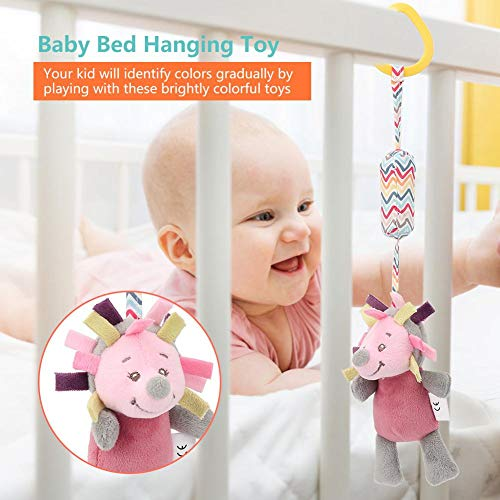 Kids Bed Hanging Toy, Baby Crib Cot Stroller Cartoon Educational Plush Toys(Hedgehog)