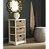 featured product Safavieh AMH5738B American Homes Collection Halle 3 Wicker Basket Storage Side Table, 17.3 x 13.4 x 29.5, Distressed White