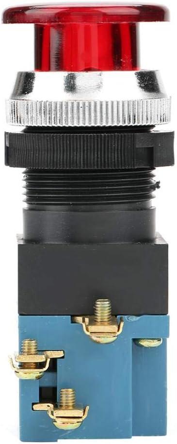 LA19-11DJ 10PCS Button Switch,Auto Reset Mushroom Push Button Switch with Light 1NO 1NC 25mm Mount Red