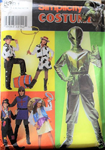 Simplicity Costumes pattern 8381 Alien, Hobo, KNight, Gypsy, cowgirl sz child 7-14]()