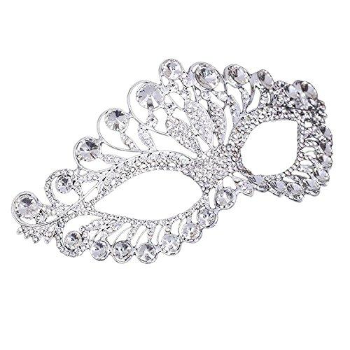 - eNice Luxury Rhinestone Mask Elegant Alloy Womens Masquerade Eye Mask Silver