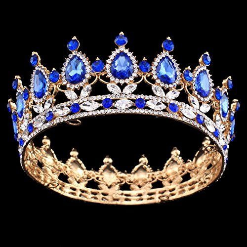 Queens Royal Crown Pin - Ulike2 King/queen Crown Red Ruby Stone Sapphire Tiaras Gold/silver Plated Hair Jewelry (13#)