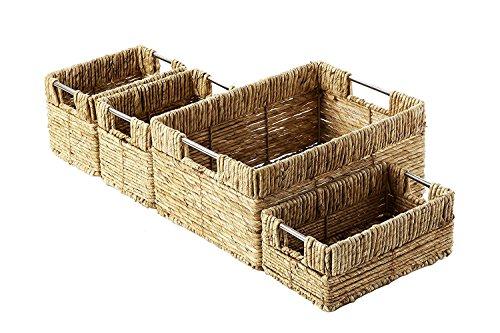 - Set of 4 Storage Basket - Nesting Baskets Set in 3 Sizes - Decorative Wicker Corn Rope Home Organizer Bins, Brown