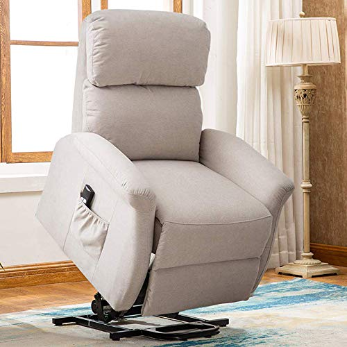 Bonzy Home Lift Chair, 3 Position & Side Pocket, Soft Fabric Power Recliner with Remote, Lift Chair for Elderly, Recliner Chair for Home Theater Seating, Living Room (Smoke Gray)