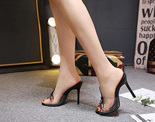 40 Stiletto Mules Onfly 34 Zapatillas Eu Toe de cm Frescas Tamaño Zapatos Negro Peep Moda de Bomba vestir Ocasionales Corte Pure Lace PVC Up OL Color la 11 Zapatos Transparente Mujeres Cqqtxrz