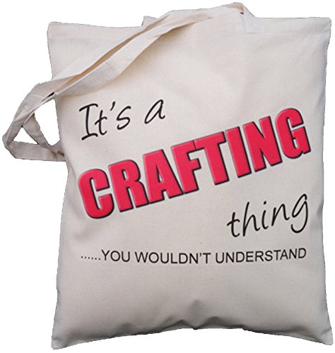 The Cotton Bag Store Ltd It's A Crafting Thing Cotton Shoulder Bag 38m x 41cm Cream