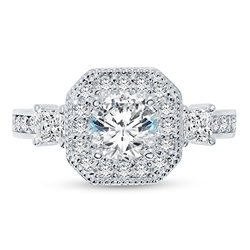 Size - 8.5 - 925 Sterling Silver Round Royal Milgrain Floating Halo Solitaire Engagement Ring CZ Cubic Zirconia (1.50cttw., 1.0ct. Center)