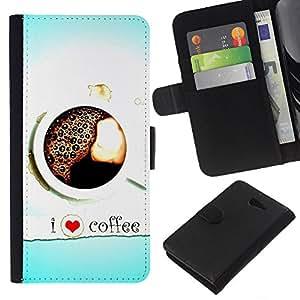 KLONGSHOP // Tirón de la caja Cartera de cuero con ranuras para tarjetas - Amo el café Corazón Azul Negro Blanco - Sony Xperia M2 //