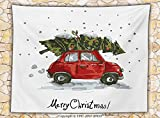 Christmas Decorations Fleece Throw Blanket Red Retro Car Carrying Xmas Tree Vintage Family Style Illustration Snowy Day Art Throw