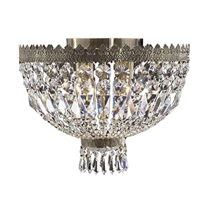 "Worldwide Lighting Metropolitan Collection 4 Light Antique Bronze Finish Crystal Flush Mount Ceiling Light 16"" D x 12"" H Round Medium"