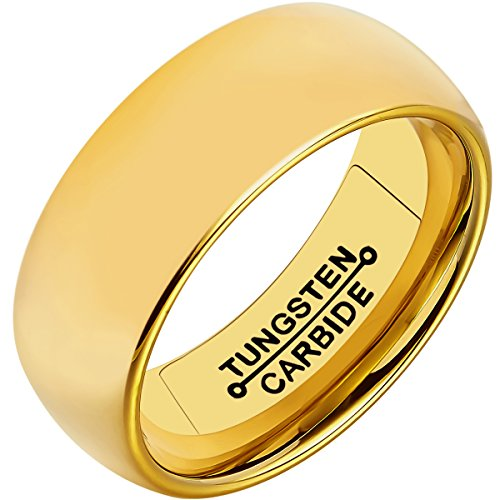sten Rings for Men 8mm 18k Gold Plated High Polished Comfort Fit Domed Wedding Band (Yellow Gold Love Ring)