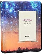 64 Pockets Sky Star Photo Album for Instax Mini 7 8 9 11 25 70 90 Link Instant Film, Credit Card Size Photo Storage (Yellow Starry Sky)