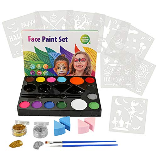 CCbeauty Art Face Painting Kit for Kids Adults, 14 Colors Professional Face & Body Paints,8 Halloween Pack Stencils 2 Brushes 4 Sponges 2 -