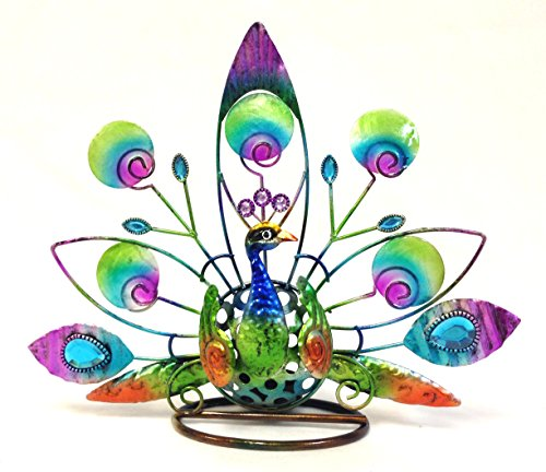 Bejeweled Display® Peacock w/ Stain Glass Candle Holder & Home Decor -