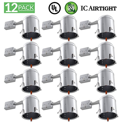 - Sunco Lighting 12 Pack 6 inch Remodel LED Light Can Air Tight IC Housing, Recessed Lights, LED Light Downlight, Retrofit Kit Spotlight, Electrician Prefered - UL Listed and Title 24 Certified (TP24)