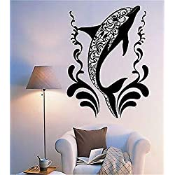 Wall Decal Sticker Mural Vinyl Arts and Sayings Dolphin of Flower Pattern Ocean Sea Ornament Mural
