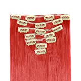 """MapofBeauty 20"""" Long Straight Clip in Synthetic Hair Extensions Hairpieces (Red)"""