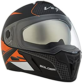 Vega Ryker Bolder Full Face Helmet (Dull Black/Orange, M)